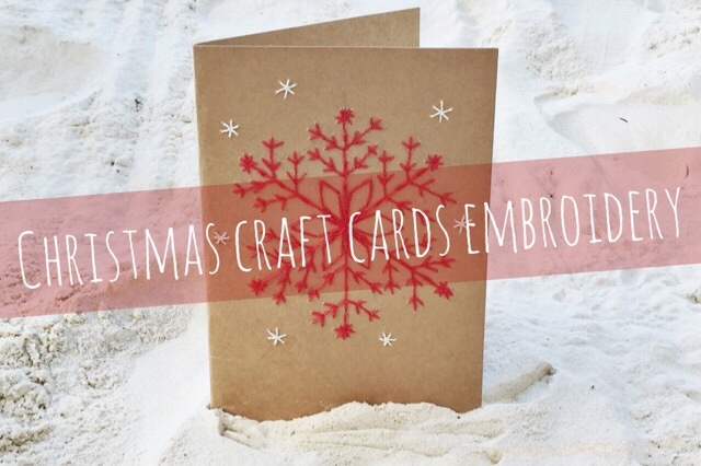 DIY christmas craft card embroidery snowflake