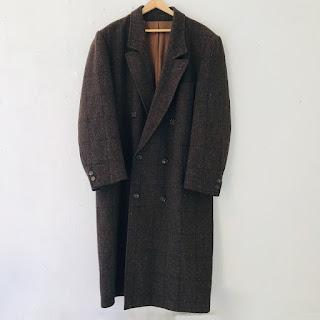 Kenzo Wool Check Overcoat