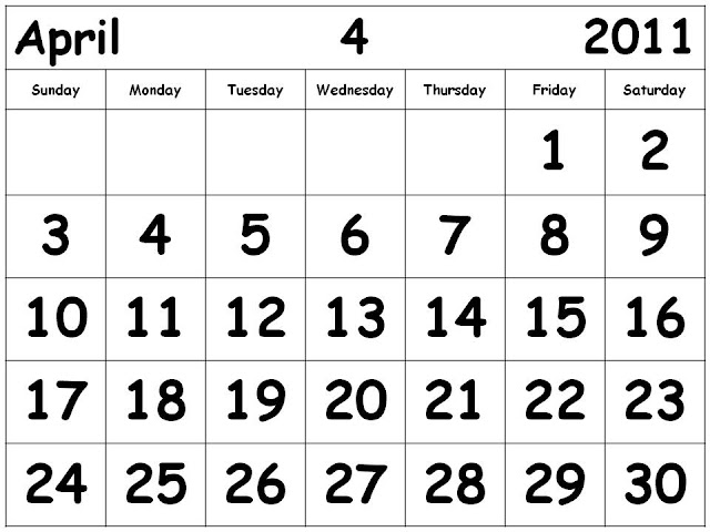 calendar april 2011 template. 2011 Calendar Template April