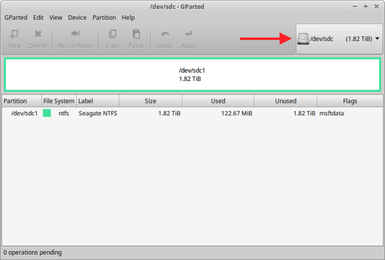 1 NTFS partition ready for Linux