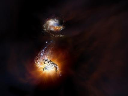 ilustração de galáxias começando o processo de fusão