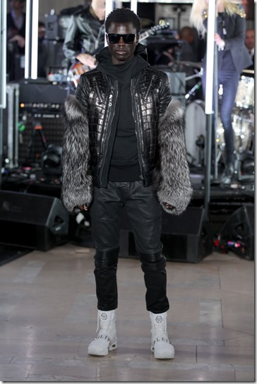 NEW YORK, NY - FEBRUARY 13:  A model walks the runway wearing look # 29 for the Philipp Plein Fall/Winter 2017/2018 Women's And Men's Fashion Show at The New York Public Library on February 13, 2017 in New York City.  (Photo by Thomas Concordia/Getty Images for Philipp Plein)
