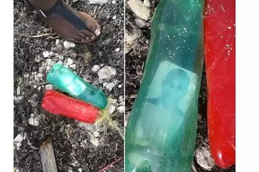 Passport Photograph Of A Man Trapped Inside A Plastic Bottle Washes Out From A Beach In Jamaica (Photos)