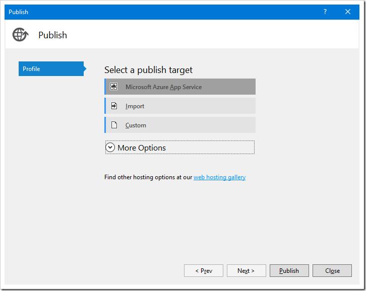 Publishing to Microsoft Azure App Service.