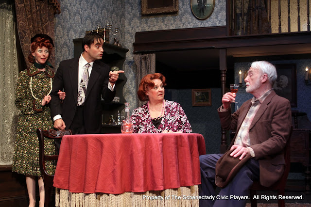 Cindy Welch, Matthew Surman, Debbie May and Phil Sheehan in ARSENIC AND OLD LACE (R) - May 2011.  Property of The Schenectady Civic Players Theater Archive.