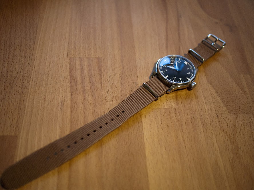 My Parnis pilot watch on a beige NATO strap.