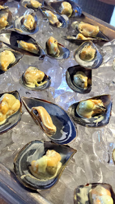 Clear Creek Distillery Turns 30! Some of the raw bar by Tournant / PDX Oyster Social, these are Chilled Brined Mussels with Doug Fir Eau De Vie Aioli