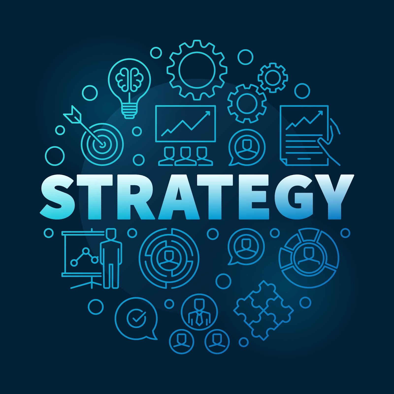Vector Strategy Round Blue Outline Illustration Free Download Vector CDR, AI, EPS and PNG Formats
