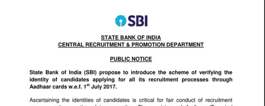 aadhar number for sbi po clerk recruitments,aadhaar card number for SBI jobs