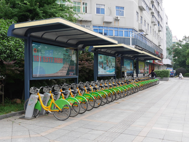 public city bicycle station in Zhuzhou