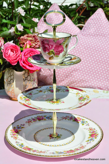 Floral Beauty mismatched teacup top 3 tier cake stand