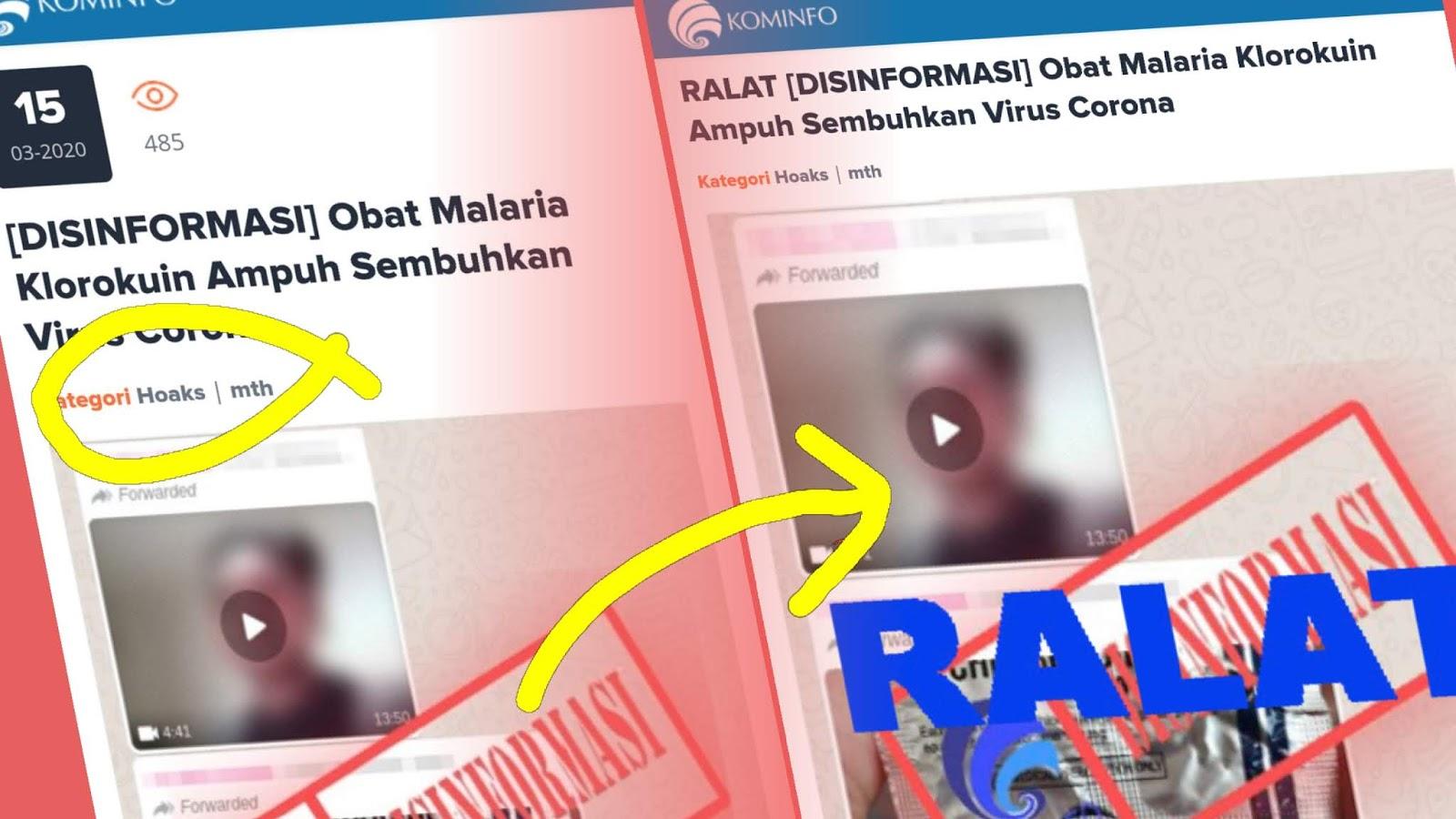 "Usai Dipesan Jokowi, Kominfo Cabut Stempel ""Hoax"" Chloroquine Ampuh Obati Corona"