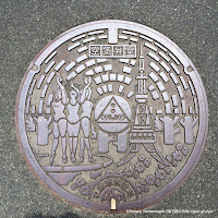札幌市上水道空気弁室マンホール蓋:テレビ塔・泉の象
