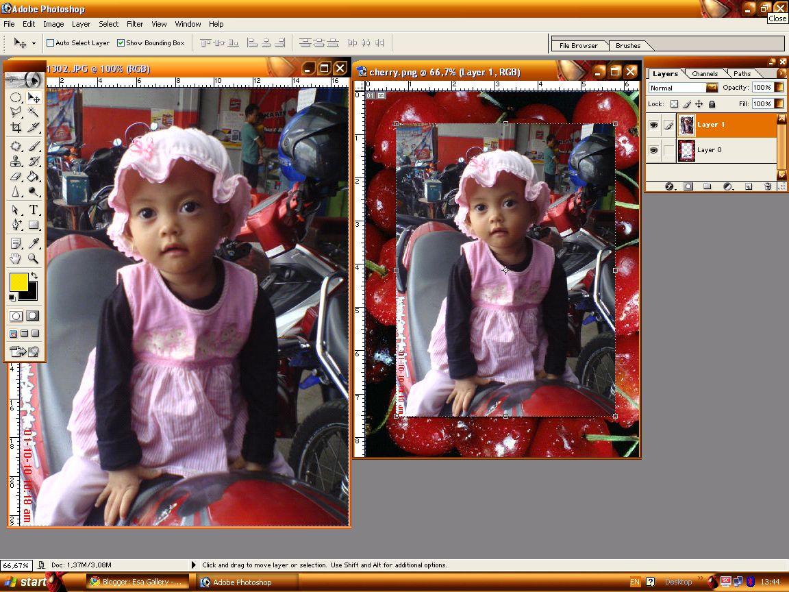 Gambar Foto setelah ditarik ke gambar frame dengan menggunakan ...