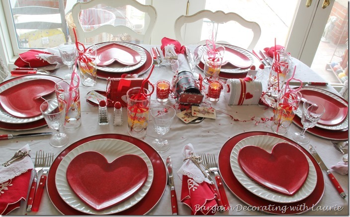Valentine Tablescape-Bargain Decorating with Laurie