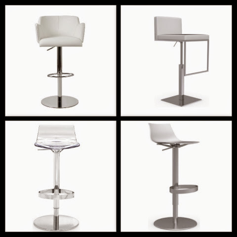 White counter swivel stools