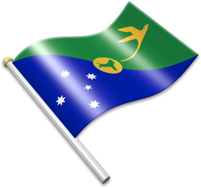 The Christmas-Island flag on a flagpole clipart image