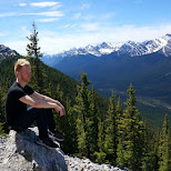 taking in the view on sulphur mountain in Banff, Alberta in Calgary, Alberta, Canada