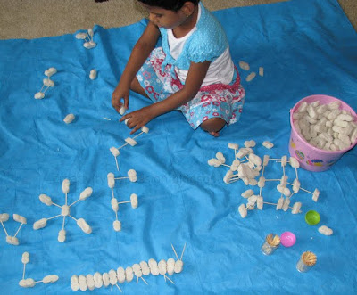 Make geometry and sculptures using Packing peanuts and Tooth picks