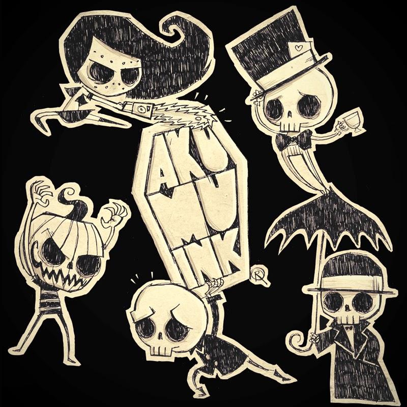 skeletons, skulls, emo skull, emo skeleton, skeleton art, skeleton characters, nightmare art, akumu ink, pumpkin goth, goth art, goth artist, coffin logo, coffin ink logo