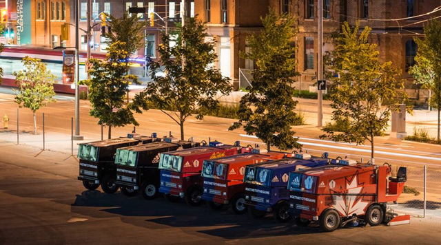 Six zambonis lined up in Canada