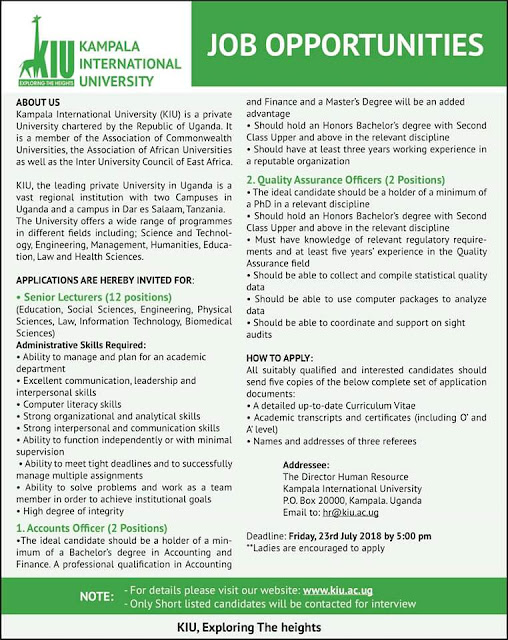 JOB ADVERTISEMENT AT THE UNIVERSITY OF KAMPALA