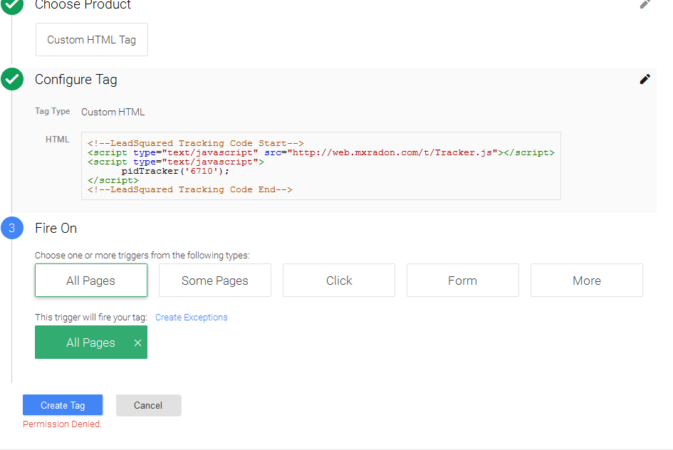 Google Tag manager is showing permission denied error while