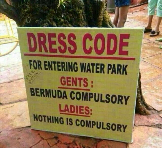 Dress code for water pakr !!! Funny whatsapp picture !!
