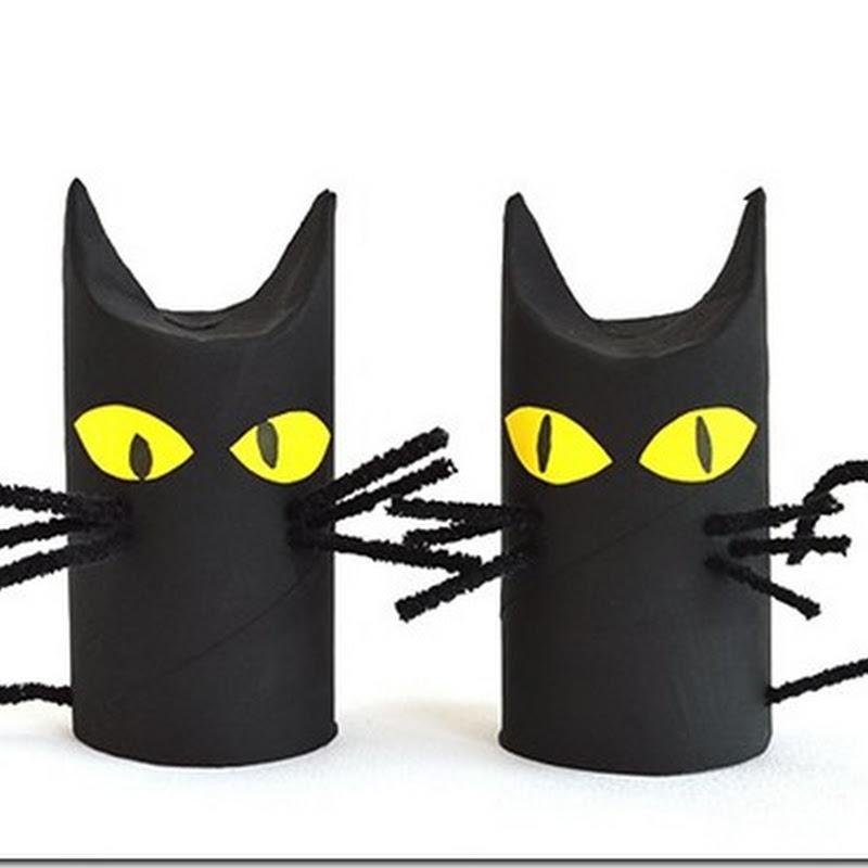 Manualidades Halloween gatos con tubo de higiénico