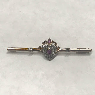 14K Gold and Stone Heart Brooch
