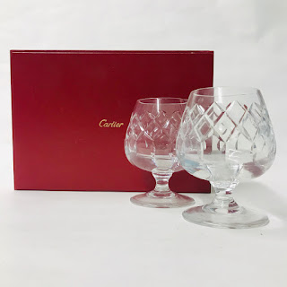 Brierly for Cartier Cut Crystal Snifter Pair