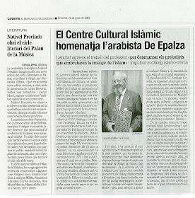 Levant Mercantil Valenciano. El Centre Cultural Islàmic homenatja l'arabista De Epalza