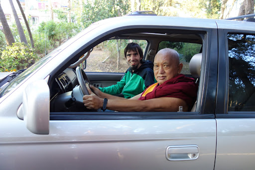 Lama Zopa Rinopche checks out Tenzin Ösel Hita's new car, Aptos, California, US, October 7, 2013. Photo by Ven. Roger Kunsang.