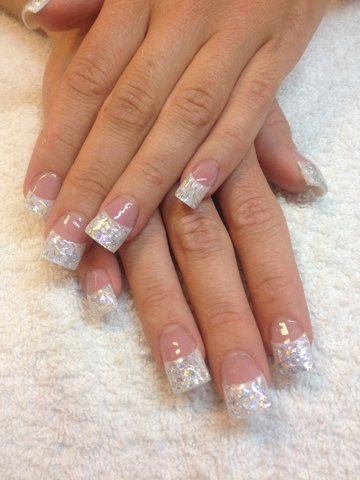 Las Vegas Nails Here S A Set I Did Few Days Ago Using Mia Secret Silver Moon Acrylics With White Tips It From The Galaxy Nail Powder Collection