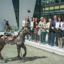 Inauguration d'une sculpture de bronze à la bibliothèque Paul-Mercier