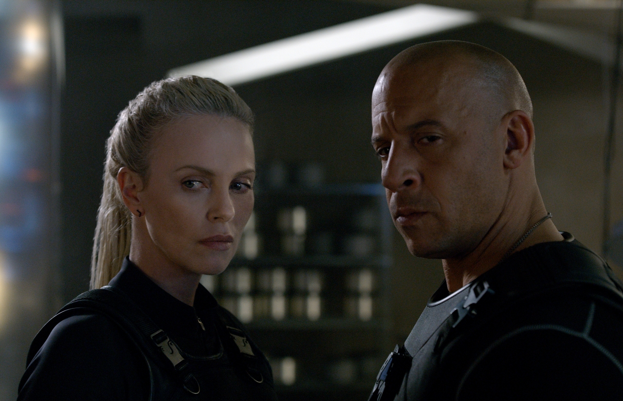 Charlize Theron and Vin Diesel in THE FATE OF THE FURIOUS. (Photo courtesy of Universal Pictures).
