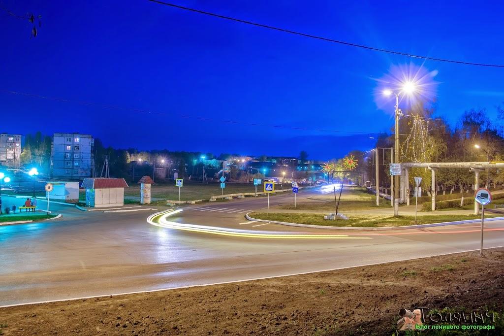 Ночной Суворов. Пересечение улиц Кирова и Тульская