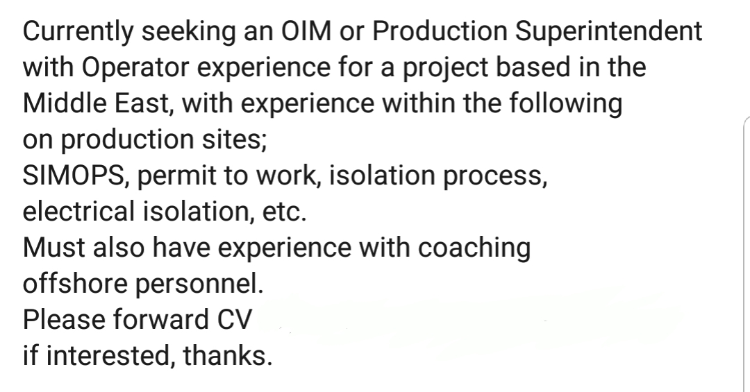 Oil and Gas Jobs: OIM or Production Superintendent