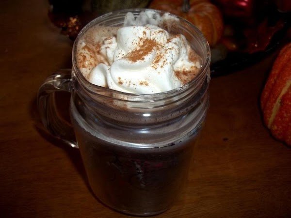 Ladle into glasses, top with whipped cream & a pinch of cinnamon...delish!