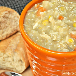Easy Crock Pot Creamy Chicken and Rice Soup.