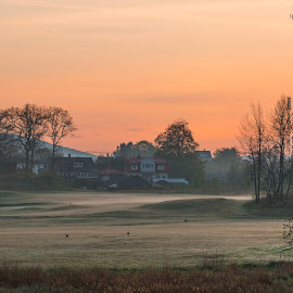 Sunrise, Fana Golf Course by Espen Rune Grimseid - Landscapes Prairies, Meadows & Fields ( getty, fana, sunrise, nature, heaven, mist, silhouettes, canon, norway, vestreraa, fanagolfcourse, bergen, landscape )