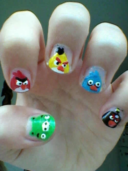 Cute Angry Birds Nail Art Design Idea Acrylic Red French Tip