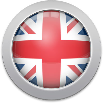 British flag icon with a silver frame
