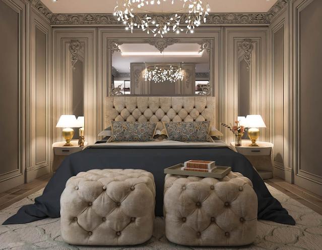 Thiết kế nội thất phòng ngủ tân cổ điển phá cách cùng gương