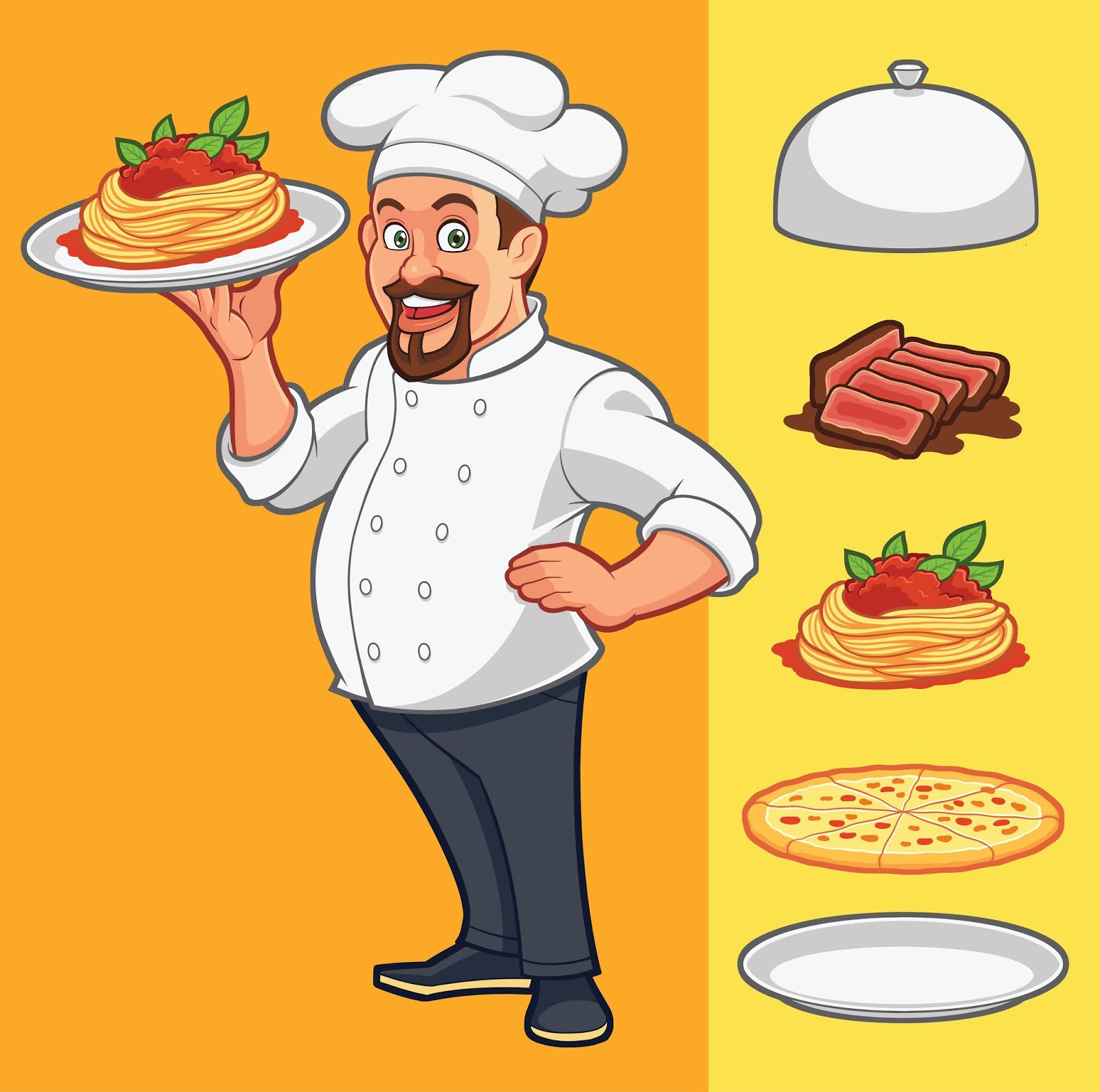 Vector Chef Delivering Food Free Download Vector CDR, AI, EPS and PNG Formats