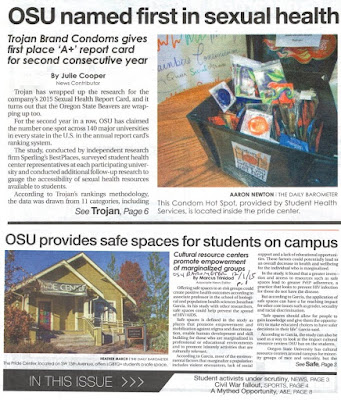 Pride center safe space and condoms Barometer Nov. 20 and Dec. 1, 2015, p. 1