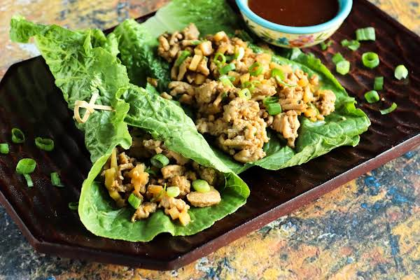 Low Carb Low Fat Asian Lettuce Wraps With Dipping Sauce Ready To Serve.