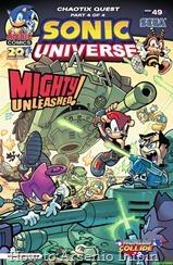 Actualización: 23/01/2018: Se agrega Sonic Universe #49 por Tonyv444 para The Tails Archive y La casita de Amy Rose. ¡La búsqueda de Mighty y Ray terminó! ¡Un caos se forma cuando los Sand Blasters y las Eggman's Forces luchan contra los Chaotix atrapados en el medio! ¿Podrá Mighty reunirse con su hermana perdida hace mucho tiempo? ¿Ella lo recordará? ¿Alguno de ellos saldrá con vida? Ultimo cómic que completa y cierra la serie de Sonic Universe, agradecimientos totales a los tradumaquetadores de The Tails Archive y La casita de Amy Rose por trabajar en este cómic. Un gran abrazo y muchas felicitaciones para estos gigantescos fans del erizo azul.