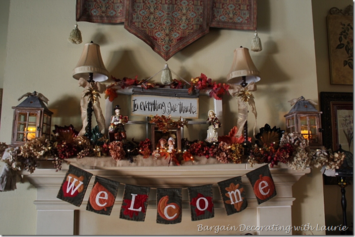 Fireplace Mantel Thanksgiving Decor