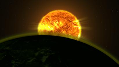 luz de uma estrela iluminando a atmosfera de um planeta